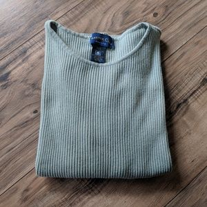 Vtg 90's Sage Green Ribbed Charter Club Tee
